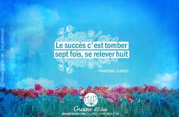 Citation - Proverbe Chinois - Le succès c'est tomber sept fois, se relever huit - Graine d'Eden