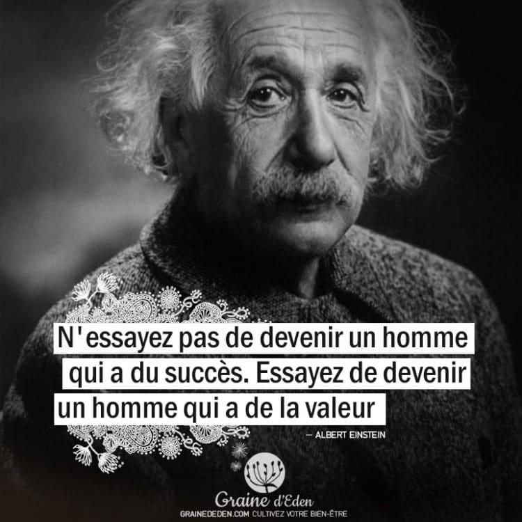 N'essayez pas de devenir un homme qui a du succès. Essayez de devenir un homme qui a de la valeur. ALBERT EINSTEIN