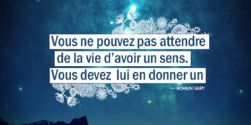 Graine d'Eden - Citation Romain Gary - Vous ne pouvez pas attendre de la vie d'avoir un sens. Vous devez lui en donner un.