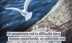 Un pessimiste voit la difficulté dans chaque opportunité ...