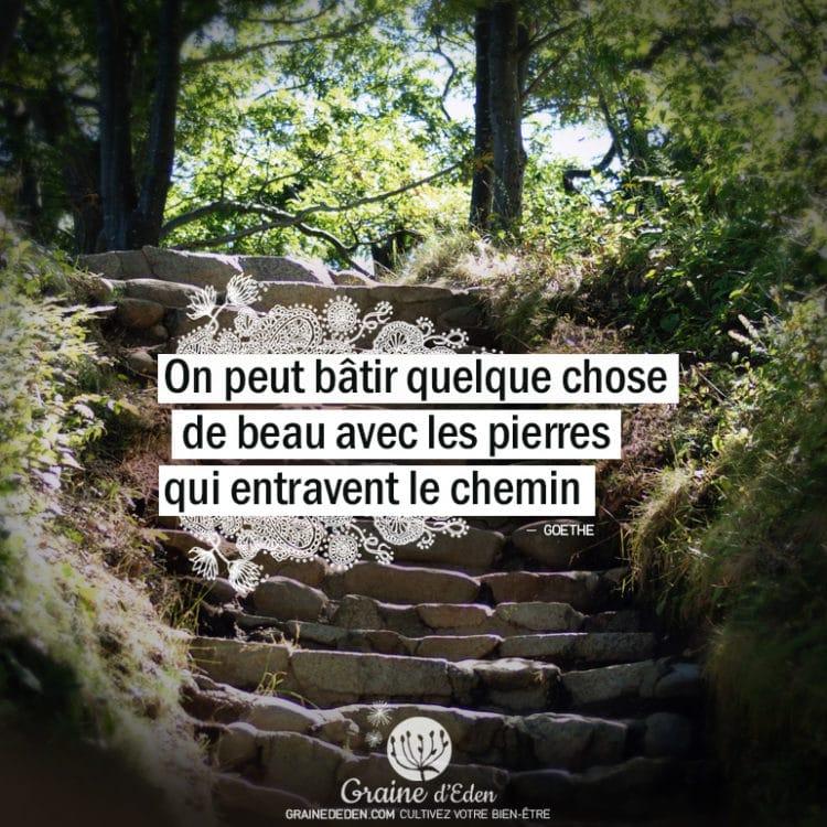 On peut bâtir quelque chose de beau avec les pierres qui entravent le chemin. GOETHE - Graine d'Eden citation