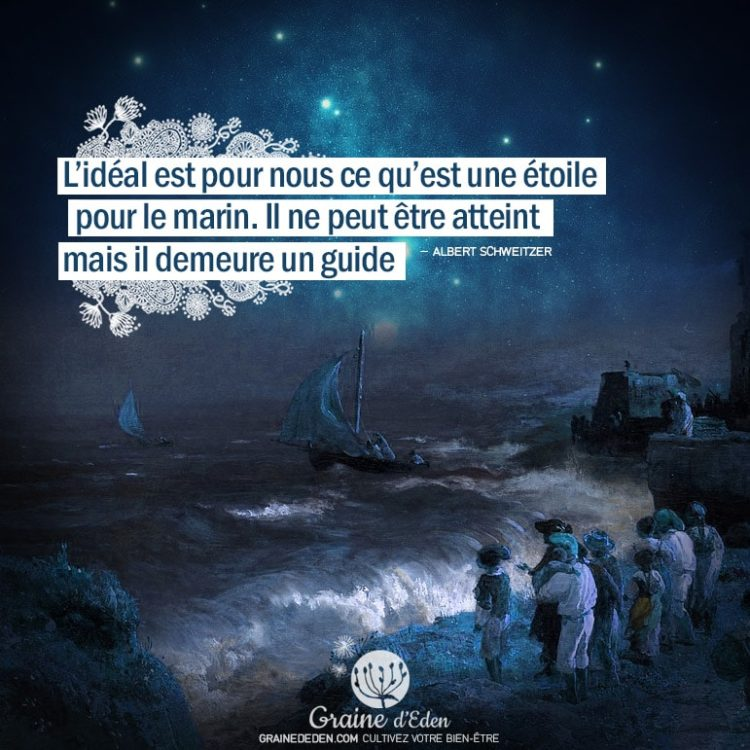 L'Idéal est pour nous ce qu'est une étoile pour le marin. Il ne peut être atteint mais il demeure un guide. ALBERT SCHWEITZER - Graine d'Eden citations