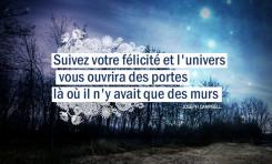 Suivez votre félicité et l'univers vous ouvrira des...