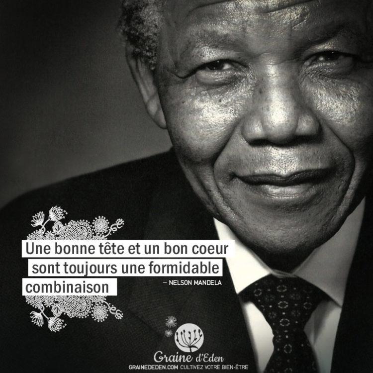 Une bonne tête et un bon cœur sont toujours une formidable combinaison. NELSON MANDELA - Graine d'Eden Citations