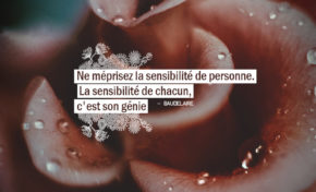 Ne méprisez la sensibilité de personne. La sensibilité de chacun, c'est ...
