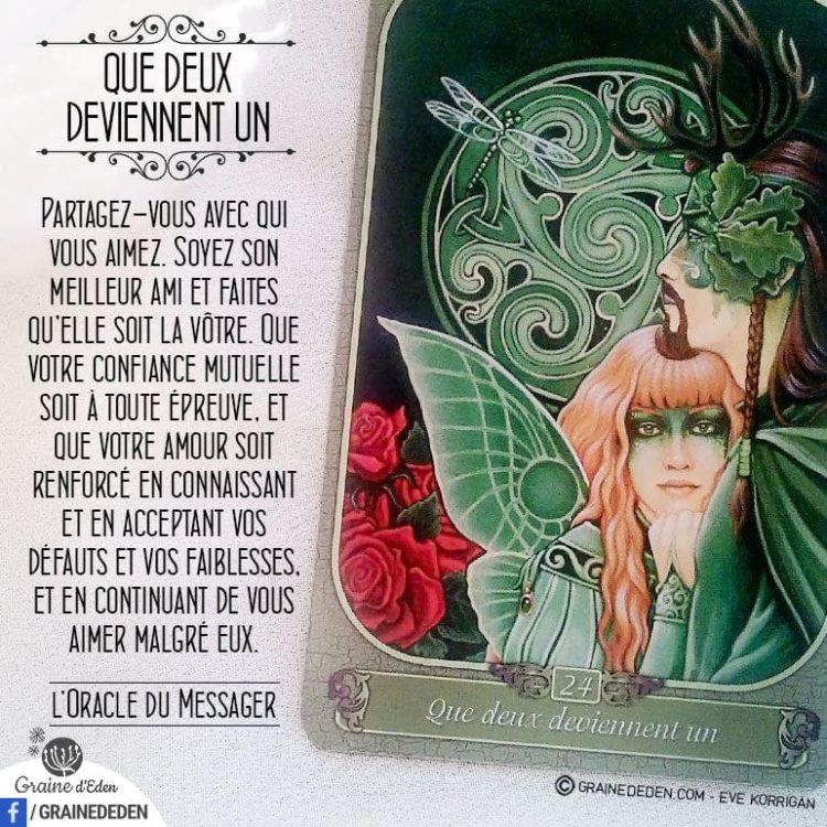 L'Oracle du Messager - Carte Que deux deviennent Un - Graine d'Eden Développement personnel, spiritualité, tarots et oracles divinatoires, Bibliothèques des Oracles, avis, présentation, review