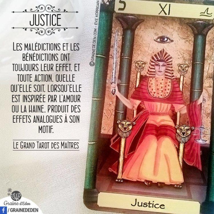 Le Grand Tarot des Maîtres - Carte La Justice - Graine d'Eden Développement personnel, spiritualité, tarots et oracles divinatoires, Bibliothèques des Oracles, avis, présentation, review