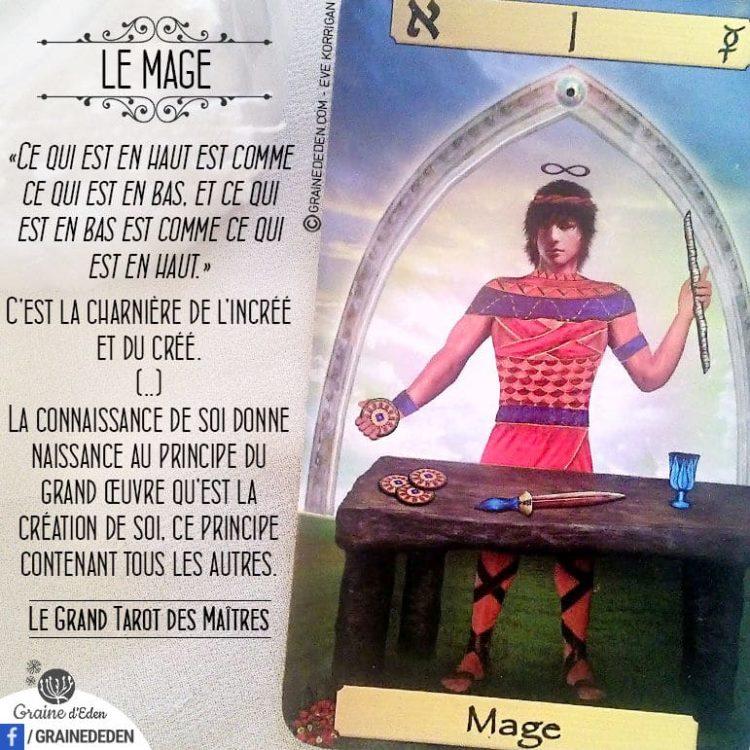 Le Grand Tarot des Maîtres - Carte Le Mage - Graine d'Eden Développement personnel, spiritualité, tarots et oracles divinatoires, Bibliothèques des Oracles, avis, présentation, review