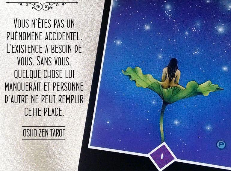Tarot Osho Zen - Carte L'Existence selon Osho - Graine d'Eden Développement personnel, spiritualité, tarots et oracles divinatoires, Bibliothèques des Oracles, avis, présentation, review