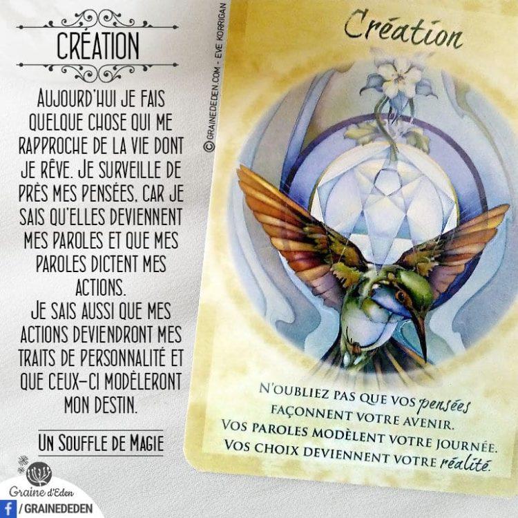 Les Cartes Un souffle de Magie - Carte Création - Je suis créateur de ma vie - Graine d'Eden Développement personnel, spiritualité, tarots et oracles divinatoires, Bibliothèques des Oracles, avis, présentation, review