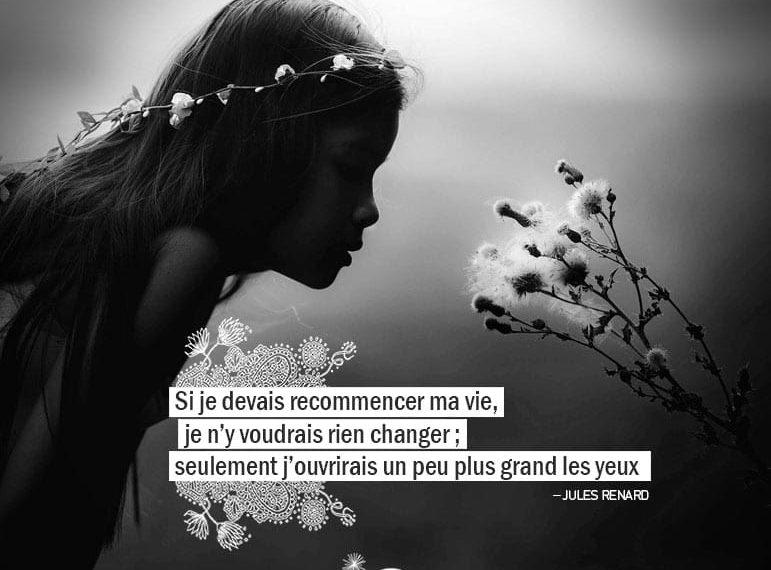 Si je devais recommencer ma vie, je n'y voudrais rien changer ; seulement j'ouvrirais un peu plus grand les yeux. JULES RENARD - Graine d'Eden Citation