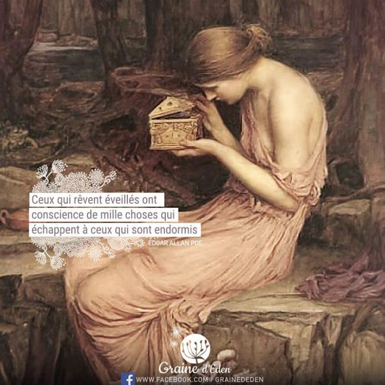 Ceux qui rêvent éveillés ont conscience de mille choses qui échappent à ceux qui sont endormis. EDGAR ALLAN POE - Graine d'Eden Citation