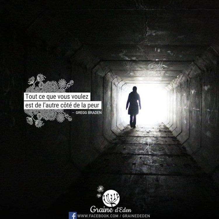 Tout ce que vous voulez est de l'autre côté de la peur. GREGG BRADEN - Graine d'Eden Citation
