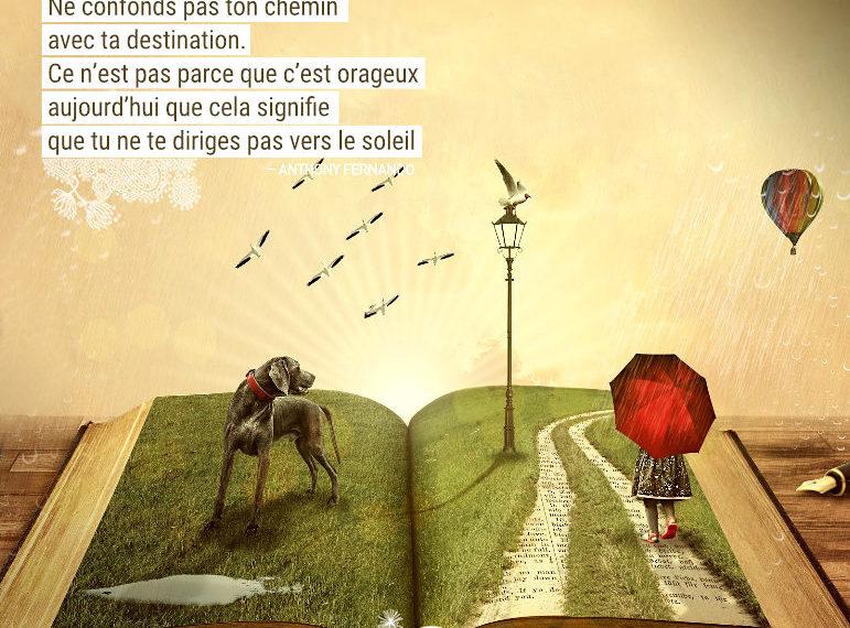 Ne confonds pas ton chemin avec ta destination. Ce n'est pas parce que c'est orageux aujourd'hui que cela signifie que tu ne te diriges pas vers le soleil. Anthony Fernando - Graine d'Eden Citations