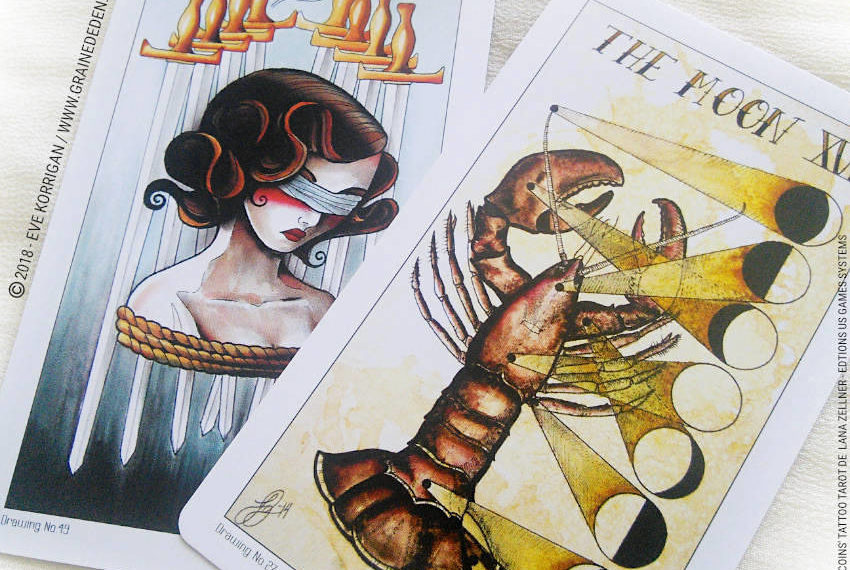 Eight Coins' Tattoo Tarot de Lana Zellner Review - Graine d'Eden Développement personnel, spiritualité, tarots et oracles divinatoires, Bibliothèques des Oracles, avis, présentation, review tarot oracle , revue tarot oracle