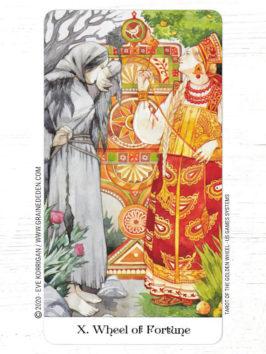 Tarot of the Golden Wheel de Mile Losenko - Graine d'Eden Développement personnel, spiritualité, tarots et oracles divinatoires, Bibliothèques des Oracles, avis, présentation, review tarot oracle , revue tarot oracle
